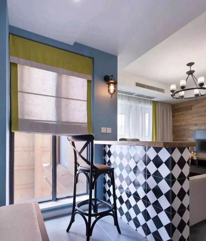 100�O现代美式装修效果图  吧台与卡座设计精致又优雅!