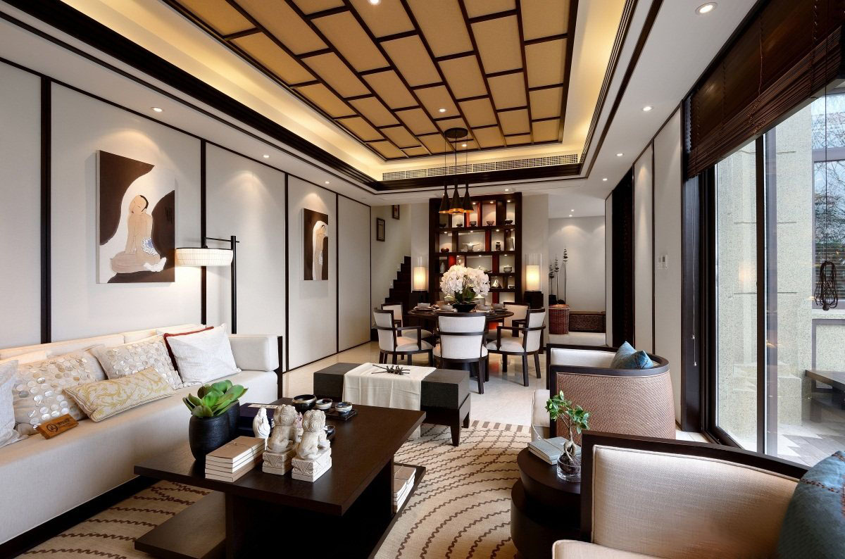280�O中式风格别墅装修 深红棕色打造的沉稳空间!