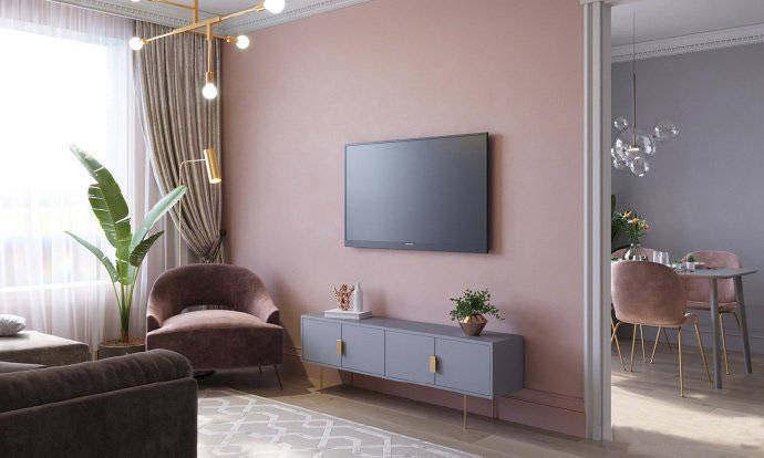 88平北欧风格公寓装修 粉色的墙面很有温柔气质!