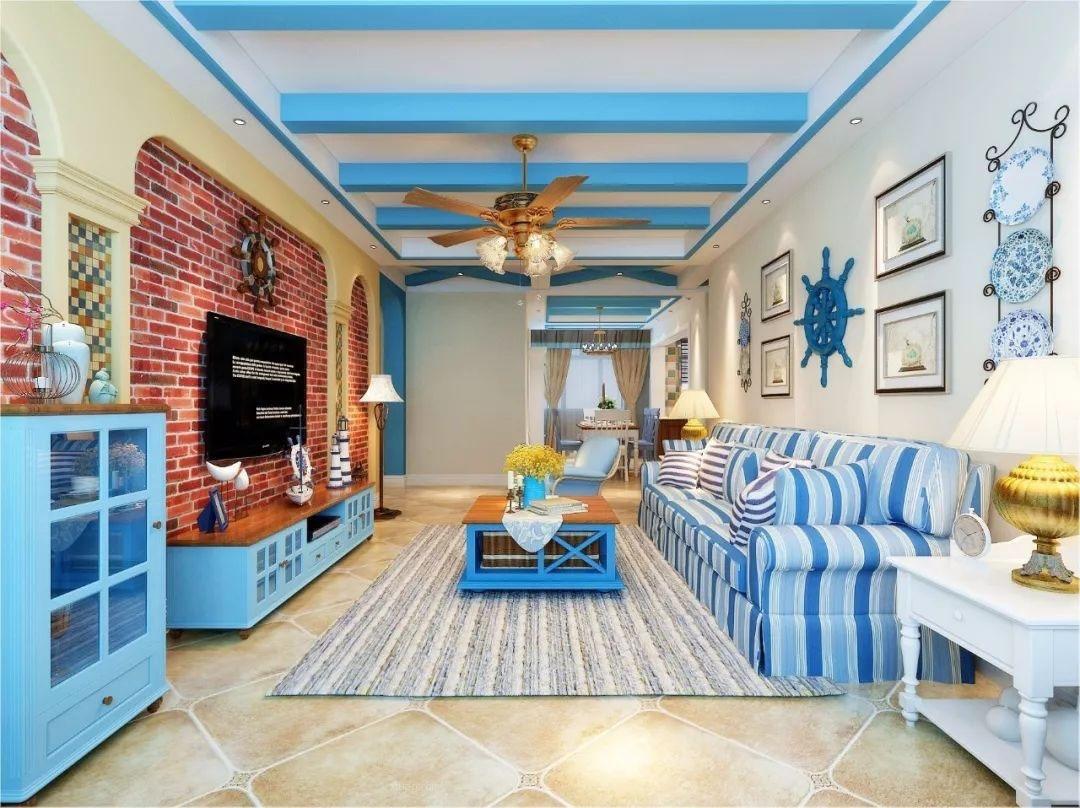 蓝色地中海风格装修效果图 如度假屋一样的舒适浪漫!