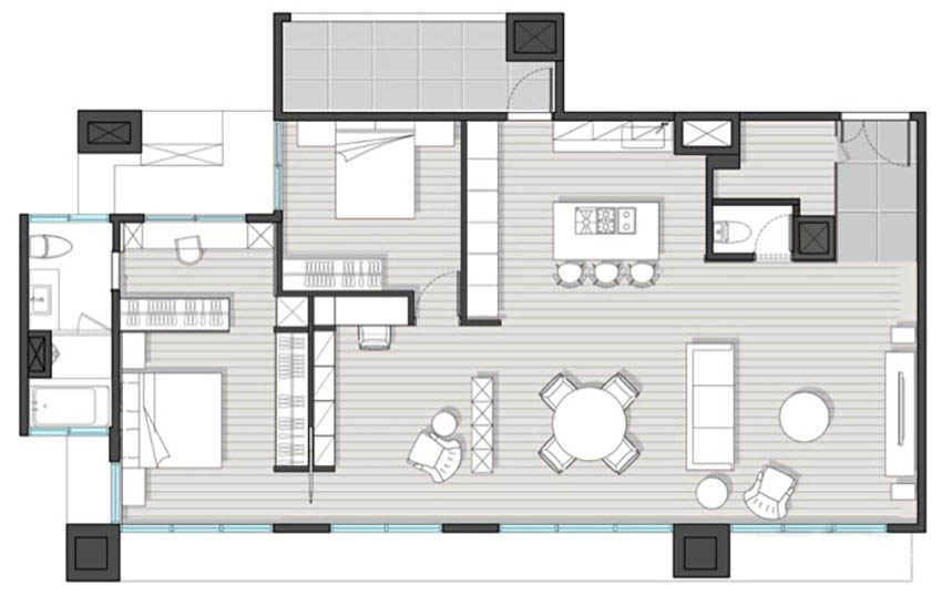 130�O的住宅采用开放式设计 水泥灰色调展现别样的家居情调!