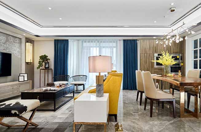 145�O新中式风格三居室装修效果图 简洁中的沉稳大气!
