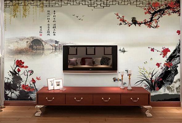 背景墙怎么装修好看?中式风格壁纸画效果图赏析